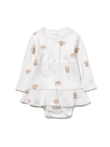 【BABY】メレンゲドッグ柄 baby ショートロンパース(OWHT-70)