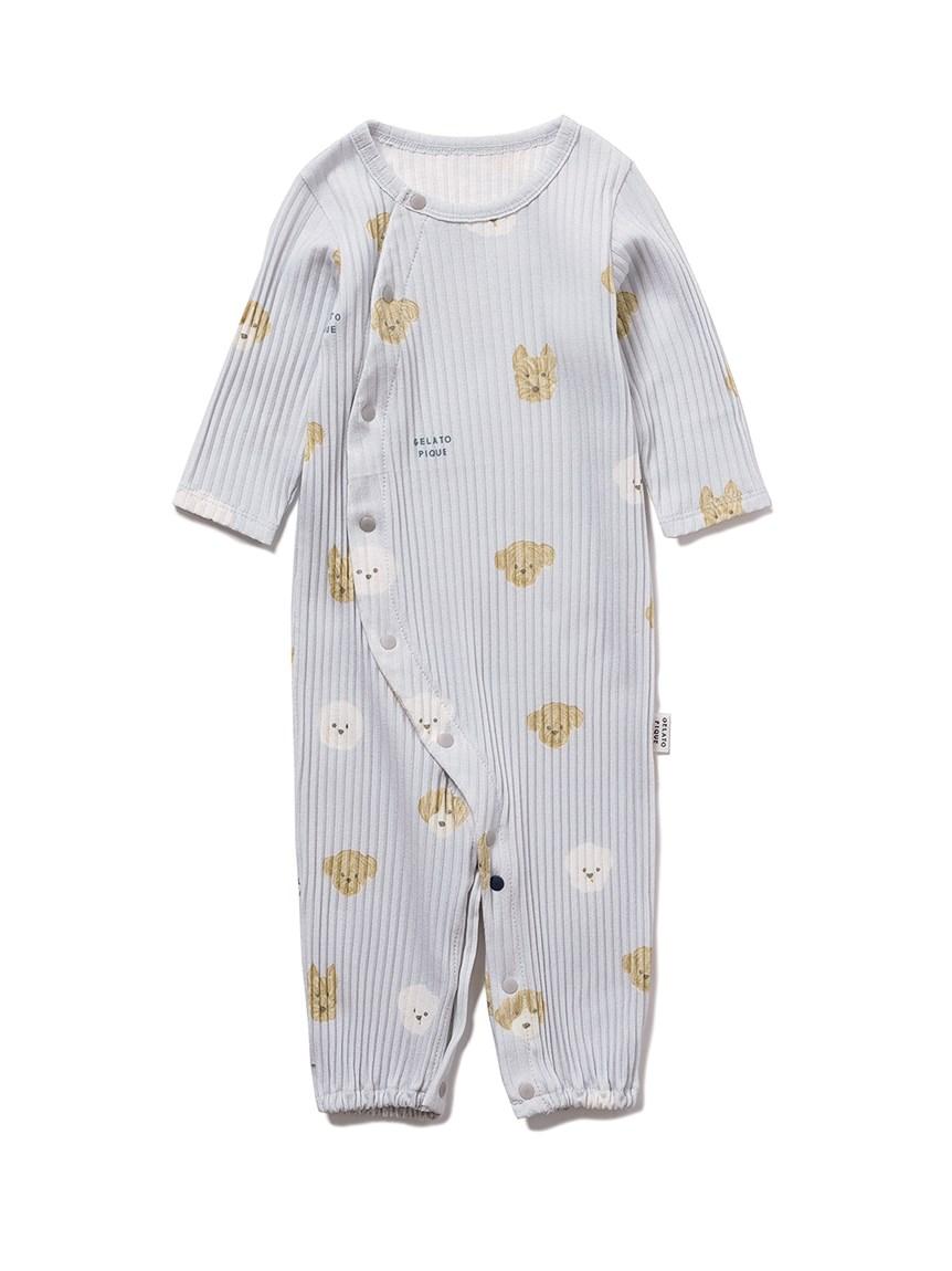 【BABY】メレンゲドッグ柄新生児2WAYオール(BLU-50)