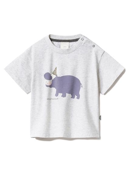 【BABY】アイスクリームアニマルワンポイント baby Tシャツ(GRY-70)
