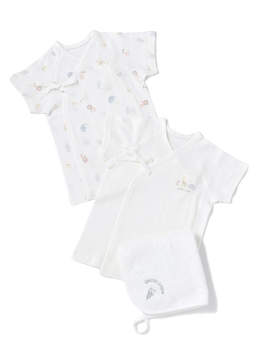 【ラッピング】Baby新生児アニマル柄短肌着&ハンドタオルSET(OWHT-50)