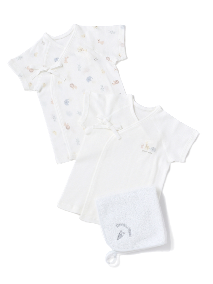 【ラッピング】Baby新生児アニマル柄短肌着&ハンドタオルSET(BLU-50)