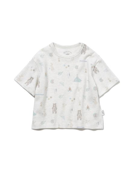 【BABY】 アニマルキャンプモチーフ baby Tシャツ(GRY-70)