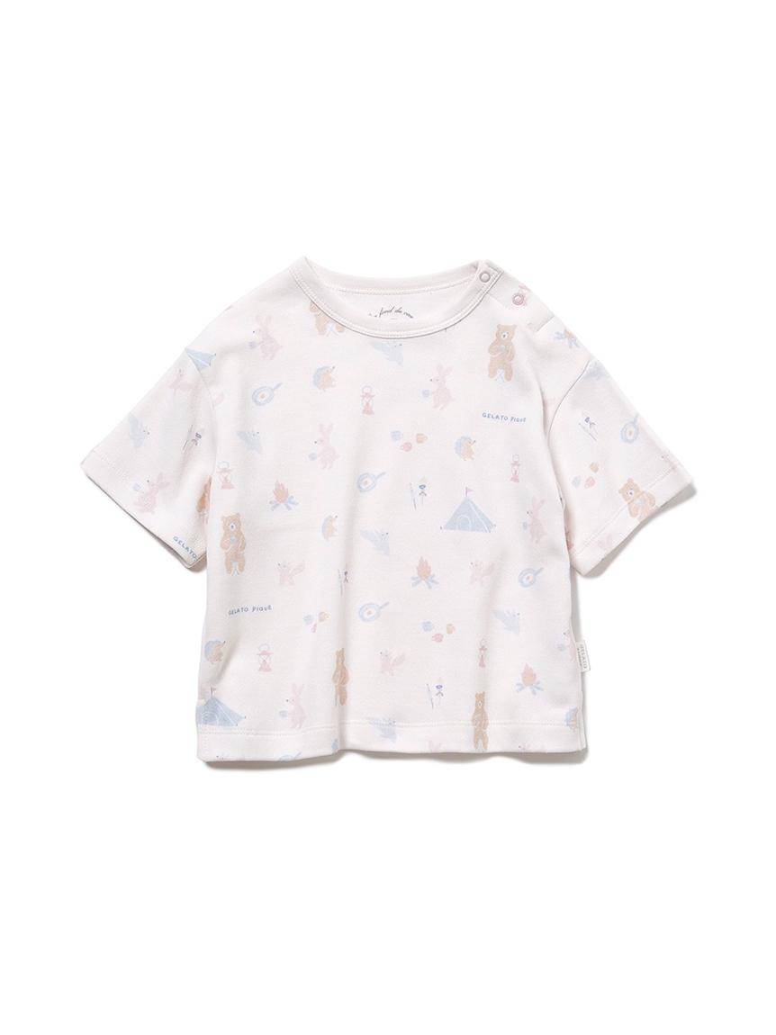 【BABY】 アニマルキャンプモチーフ baby Tシャツ(PNK-70)