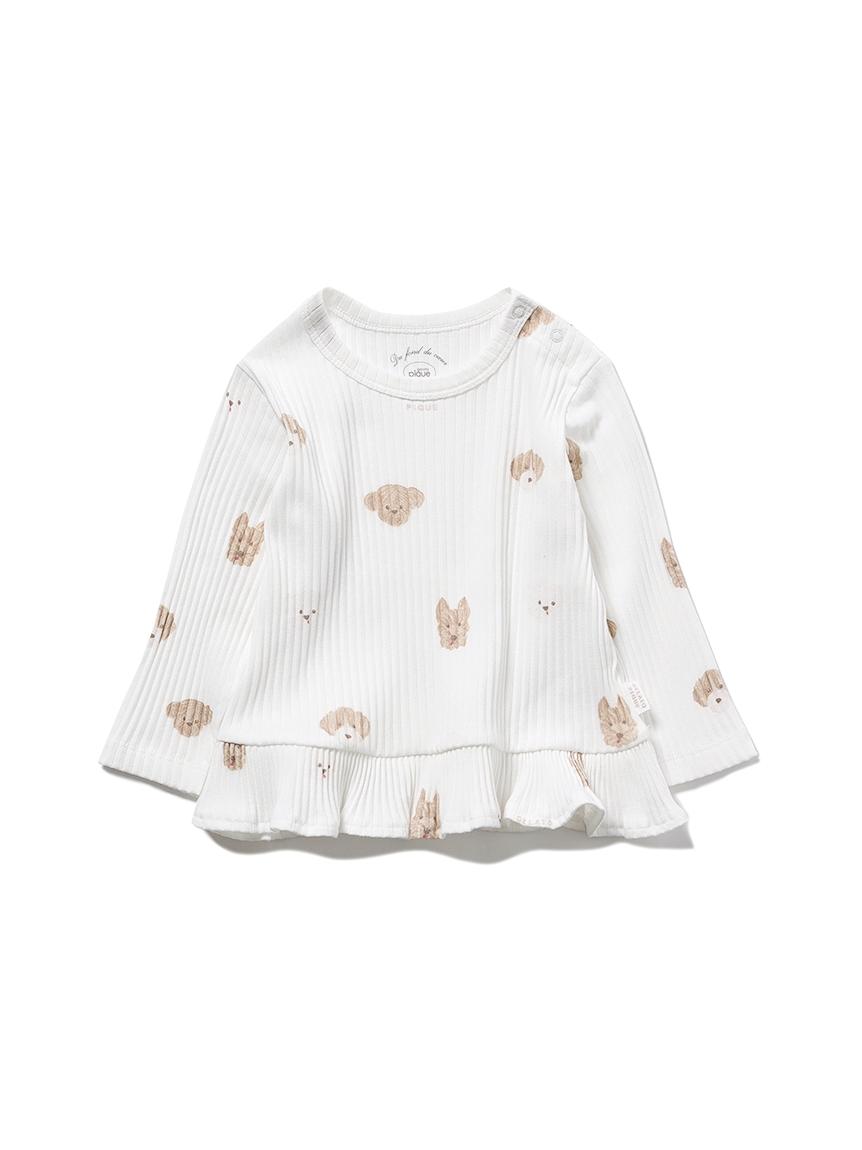 【BABY】メレンゲドッグ柄 baby フリルプルオーバー(OWHT-70)