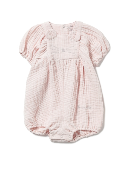 【BABY】アニマルガーゼ baby ショートロンパース(PNK-70)