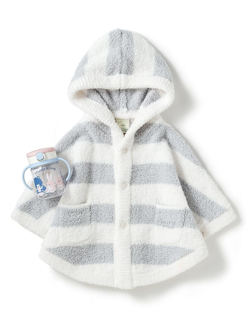 【ラッピング】Babyパウダー2ボーダーポンチョ&ストローマグSET(BLU-70)