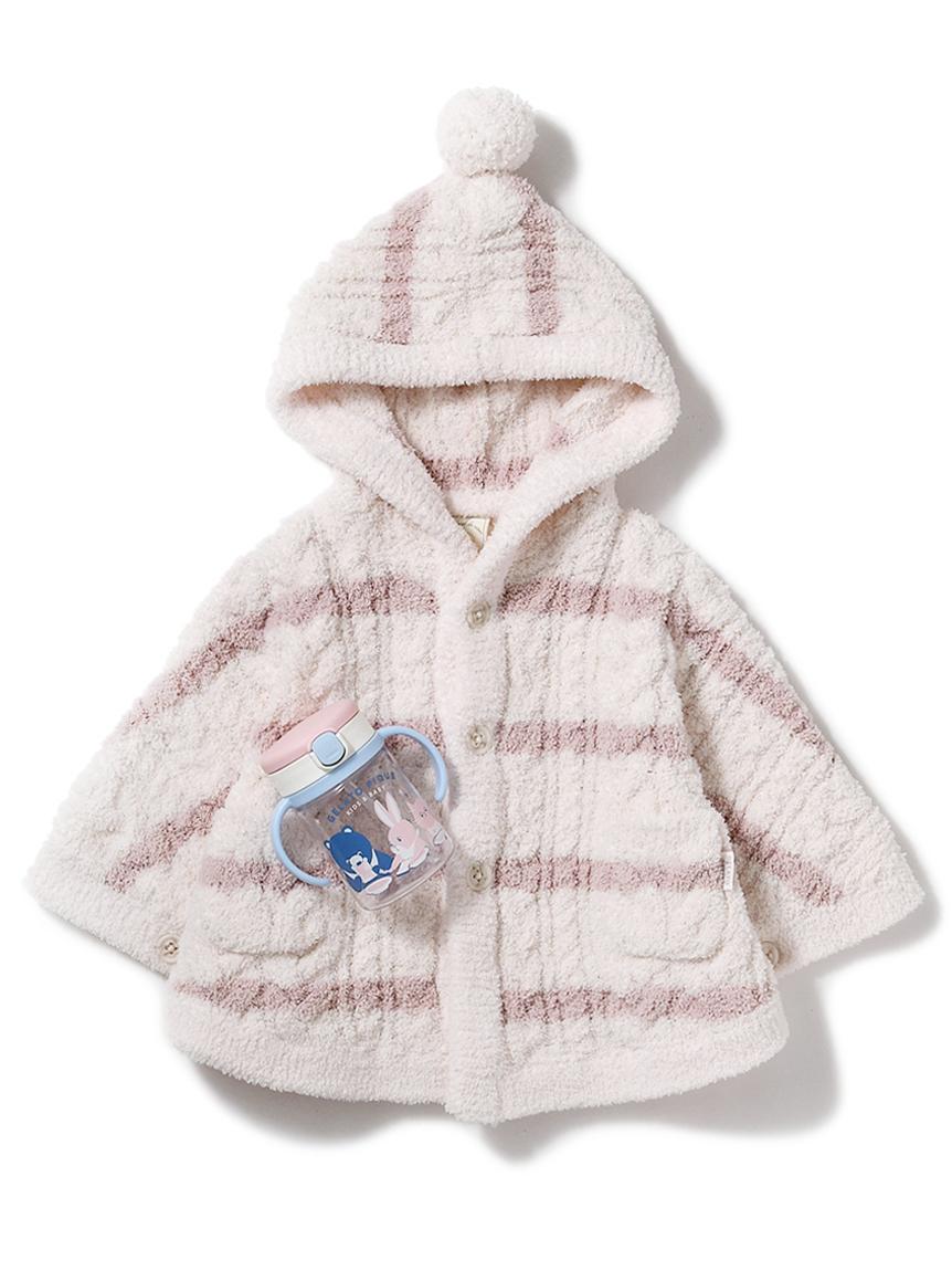 【ラッピング】Babyボーダーアランポンチョ&ストローマグSET(PNK-70)
