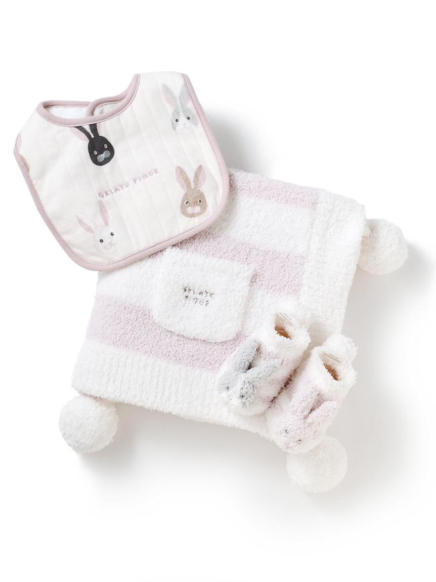 【ラッピング】Babyパウダー2ボーダーブランケット&うさぎソックス&スタイSET(PNK-F)