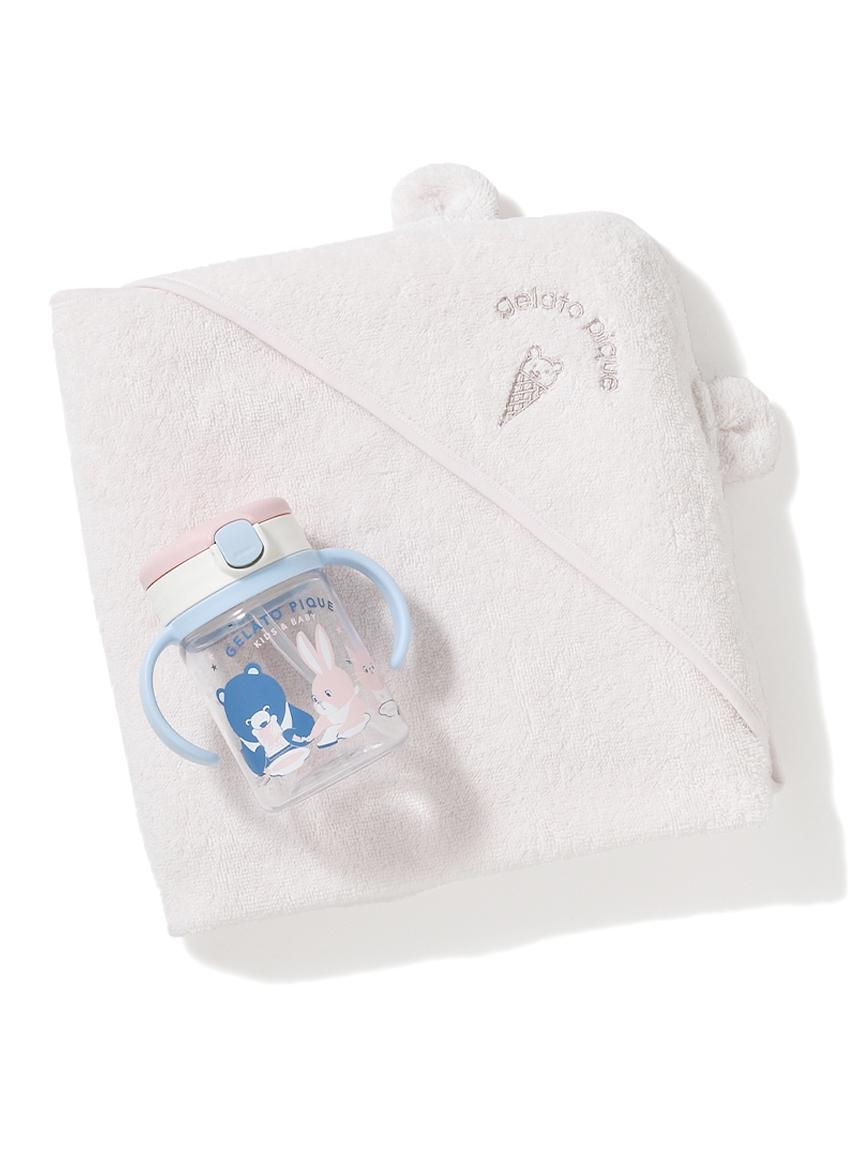 【ラッピング】Babyタオルブランケット&ストローマグSET(PNK-F)