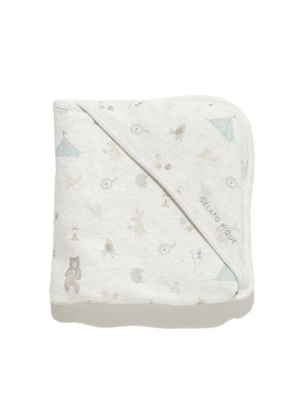 【BABY】 アニマルキャンプモチーフ baby ブランケット(GRY-F)