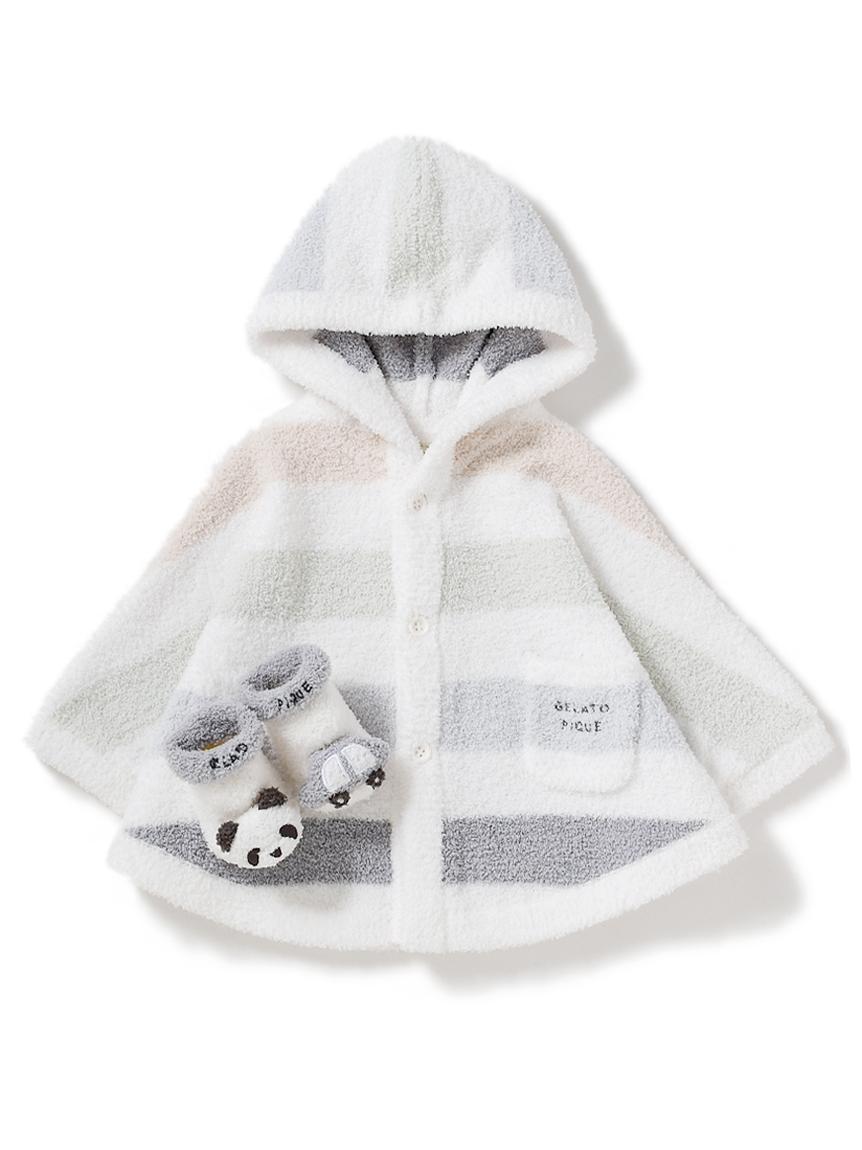 【ラッピング】Babyベビモコ5ボーダーポンチョ&ソックスSET(BLU-70)