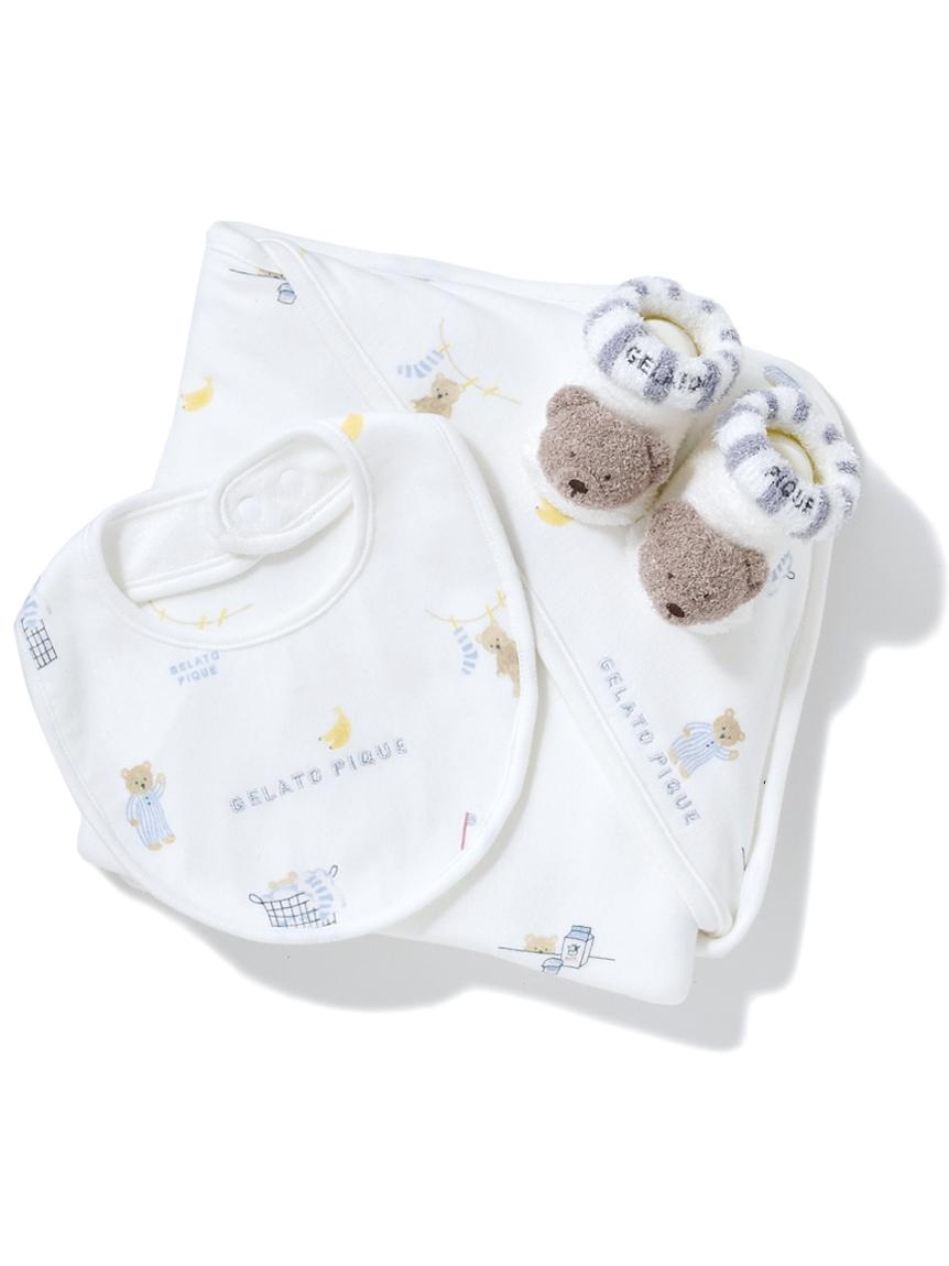【ラッピング】Babyモーニングベア柄ブランケット&スタイ&くまソックスSET