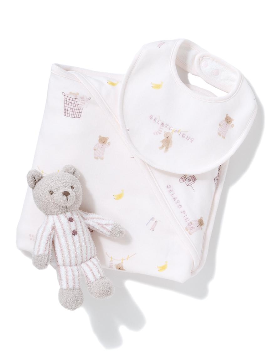 【ラッピング】Babyモーニングベア柄ブランケット&スタイ&くまラトルSET(PNK-F)