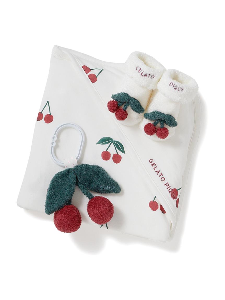 【ラッピング】【Baby】スムーズィスターチェリーブランケット&ソックス&ラトルSET(RED-F)