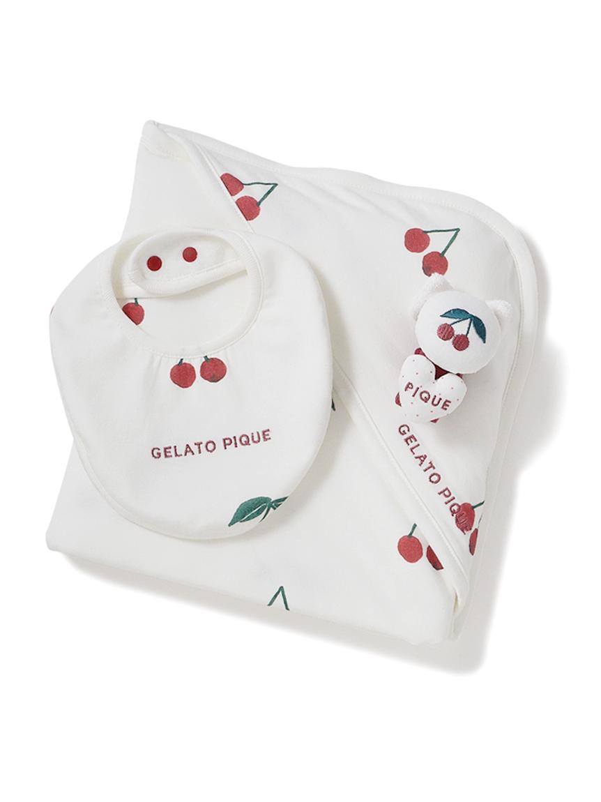 【ラッピング】【Baby】スムーズィスターチェリーブランケット&スタイ&ラトルSET(RED-F)