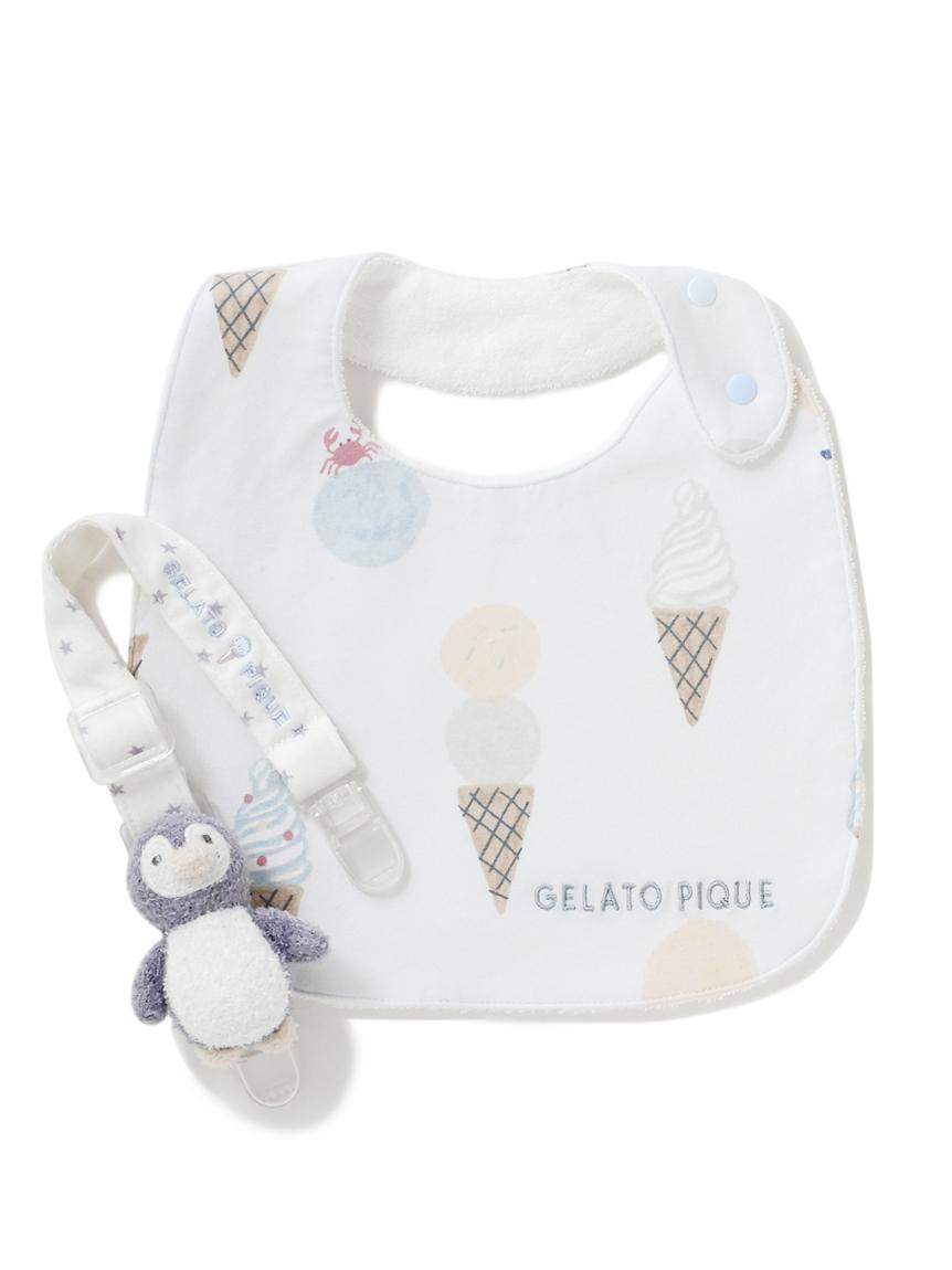 【ラッピング】【Baby】アイスクリームアニマル柄スタイ&ペンギンマルチクリップSET(BLU-F)