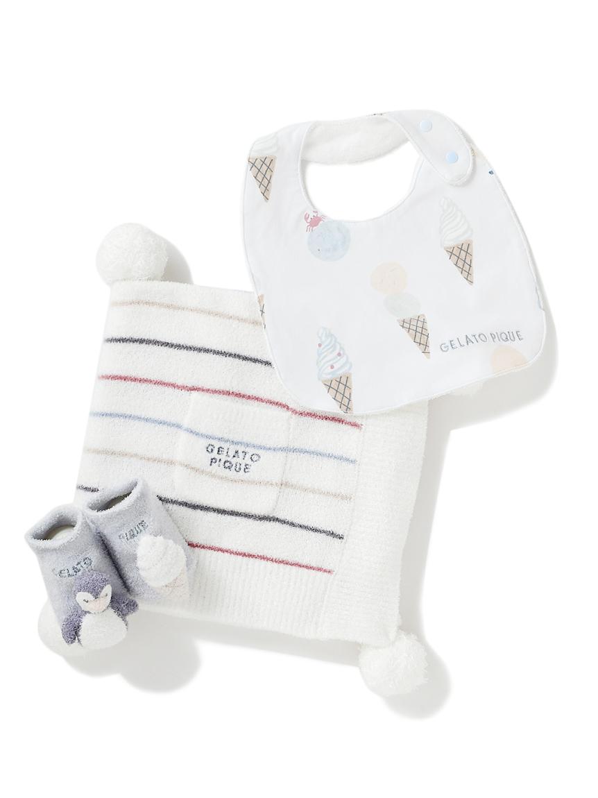 【ラッピング】【Baby】スムーズィカラフルボーダーブランケット&スタイ&ペンギンソックスSET
