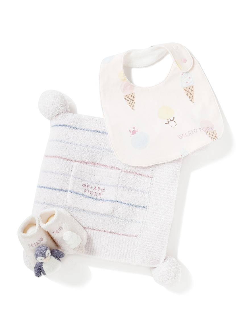 【ラッピング】【Baby】スムーズィカラフルボーダーブランケット&スタイ&ペンギンソックスSET(PNK-F)