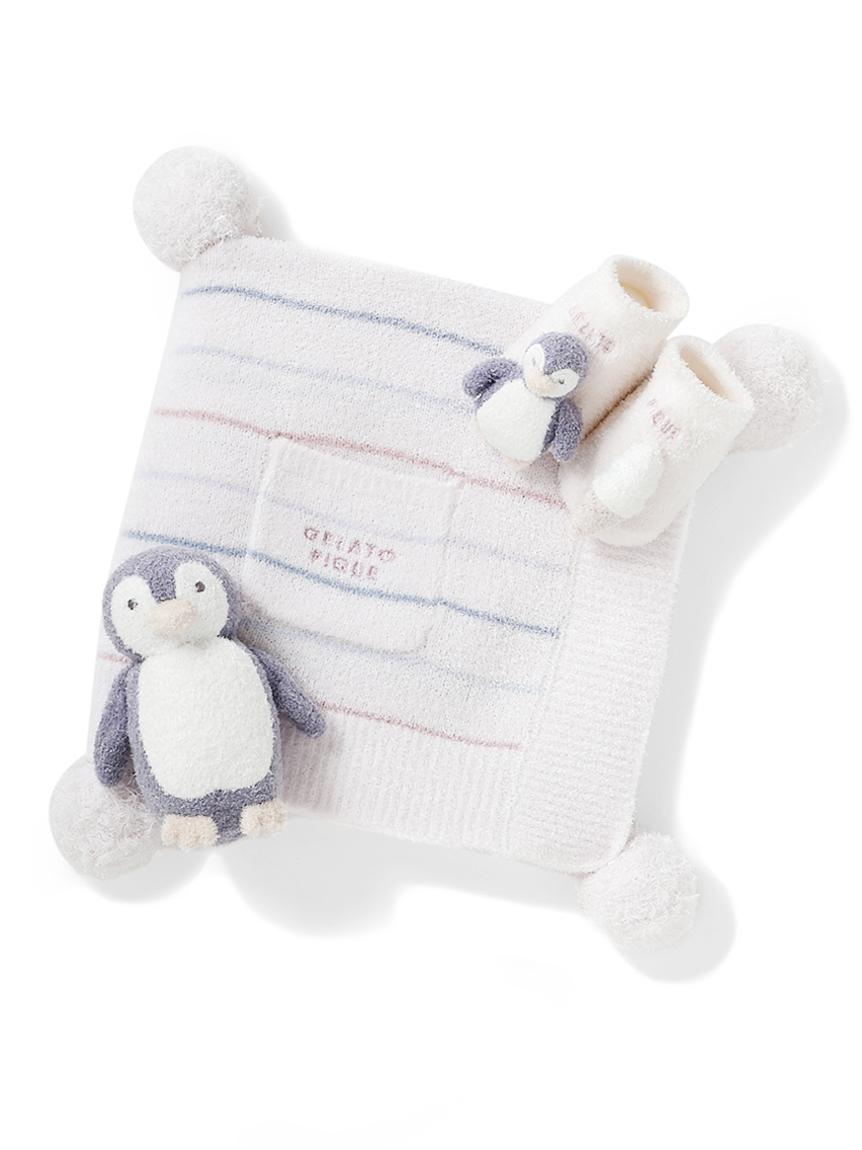 【ラッピング】【Baby】スムーズィカラフルボーダーブランケット&ペンギンソックス&ラトルSET(PNK-F)