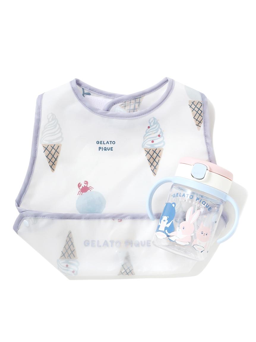 【ラッピング】【Baby】アイスクリームアニマル柄お食事スタイ&ストローマグSET(BLU-F)