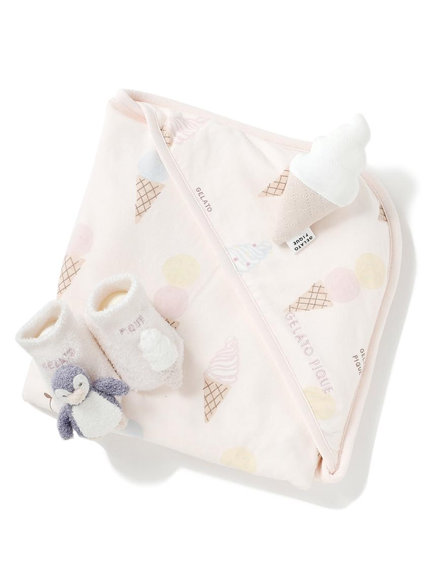 【ラッピング】【Baby】アイスクリームアニマル柄ブランケット&ペンギンソックス&ラトルSET(PNK-F)