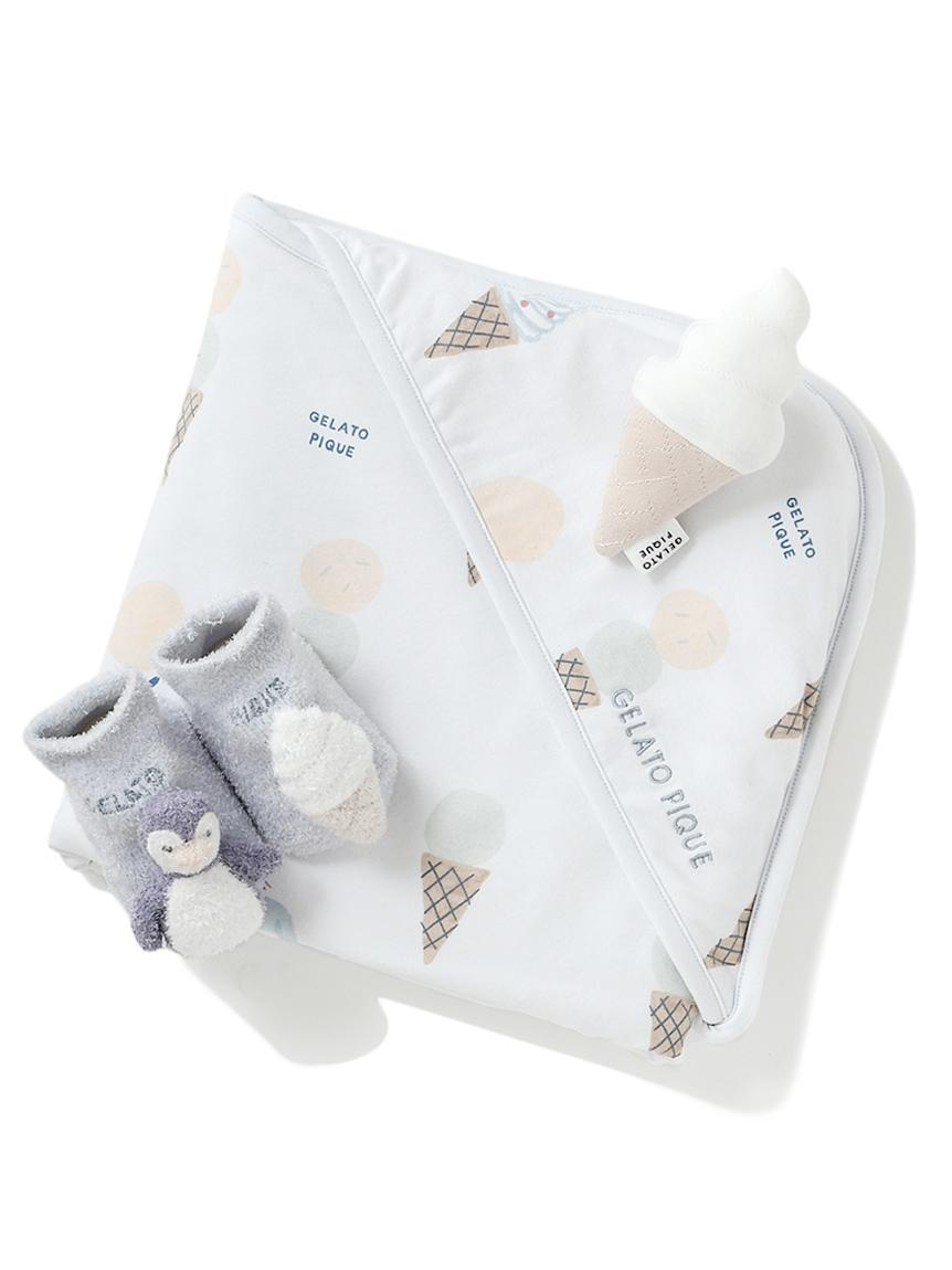 【ラッピング】【Baby】アイスクリームアニマル柄ブランケット&ペンギンソックス&ラトルSET(BLU-F)