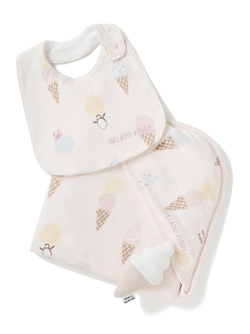 【ラッピング】【Baby】アイスクリームアニマル柄ブランケット&スタイ&ラトルSET(PNK-F)
