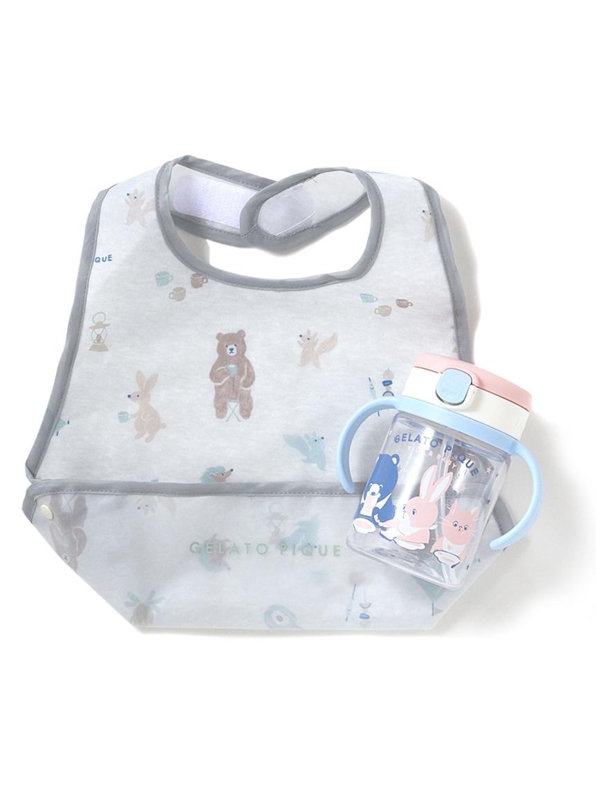 【ラッピング】【BABY】アニマルキャンプモチーフ baby お食事スタイ&baby ストローマグ(GRY-F)