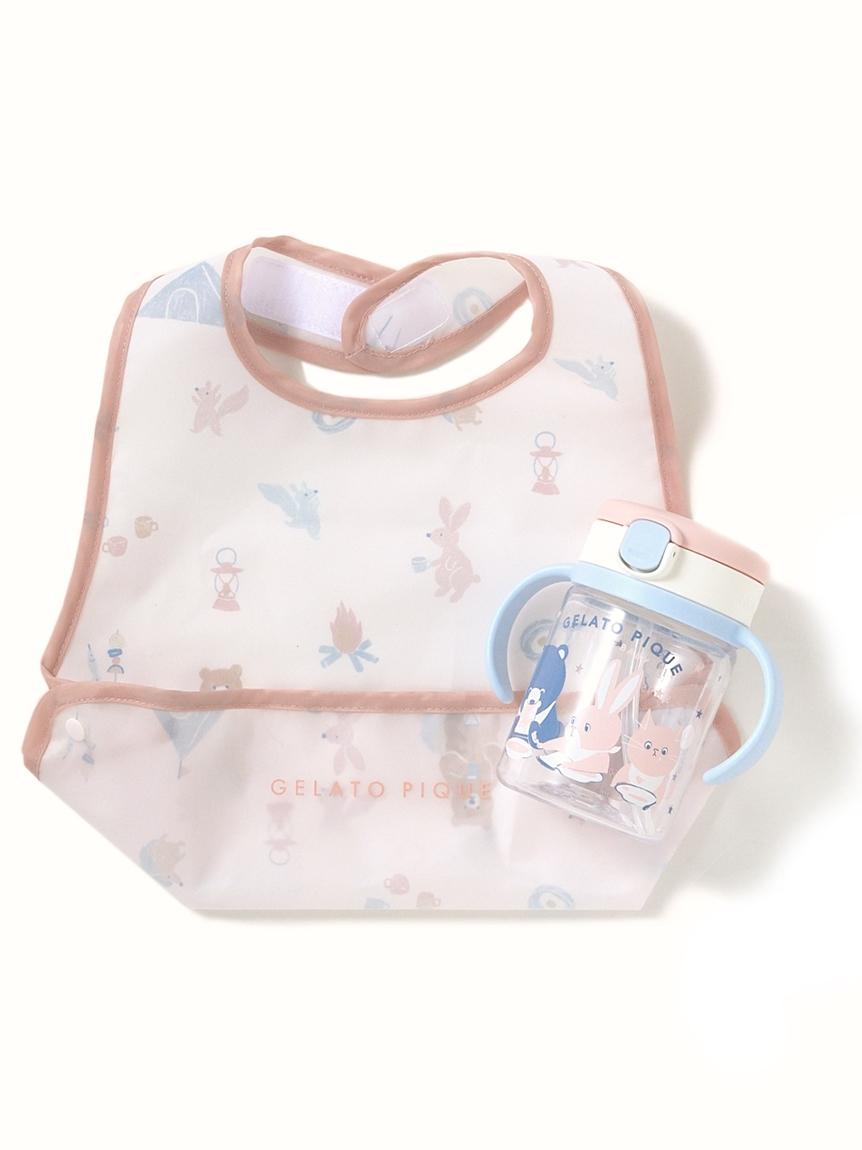 【ラッピング】【BABY】アニマルキャンプモチーフ baby お食事スタイ&baby ストローマグ(PNK-F)