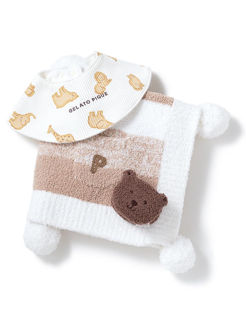 【ラッピング】【BABY】 ベビモコ'メランジボーダー ブランケット&くまクッキー baby ラトル&クッキーアニマルモチーフ baby スタイSET(BEG-F)