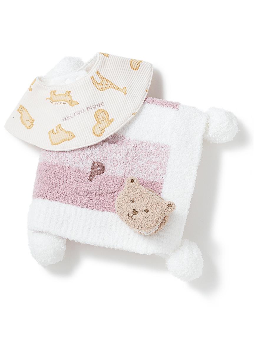 【ラッピング】【KIDS】 ベビモコ'メランジボーダー ブランケット&くまクッキー baby ラトル&クッキーアニマルモチーフ baby スタイSET(PNK-F)