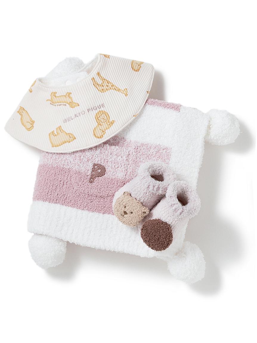 【ラッピング】【BABY】 ベビモコ'メランジボーダー ブランケット&くまクッキー baby ソックス&クッキーアニマルモチーフ baby スタイSET(PNK-F)