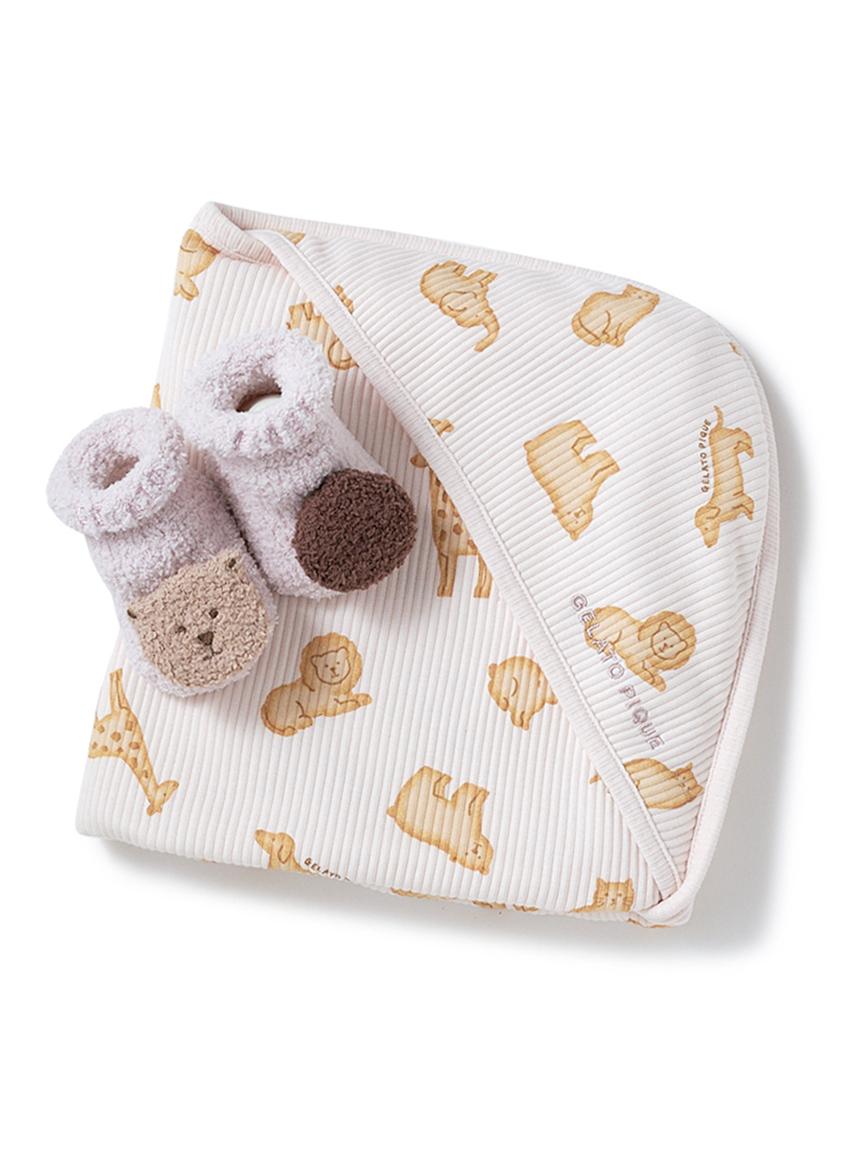 【ラッピング】【BABY】 クッキーアニマルモチーフブランケット&ベビモコ'くまクッキー ソックスSET(PNK-F)