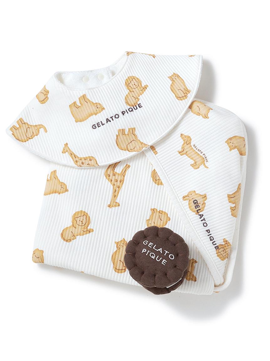 【ラッピング】【BABY】クッキーアニマルモチーフブランケット&スタイ&ラトルSET