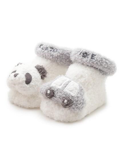 【BABY】'ベビモコ'パンダ&くるまモチーフ baby ソックス(BLU-7)