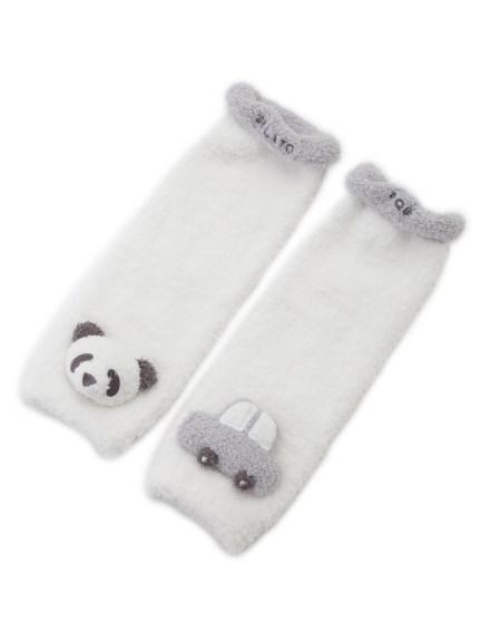 【BABY】'ベビモコ'パンダ&くるまモチーフ baby レッグウォーマー(BLU-F)