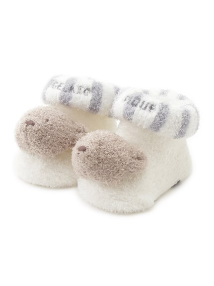 【BABY】'スムーズィー'ボーダーベアモチーフ baby ソックス(BLU-7)
