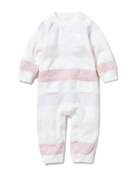 【BABY】'スムーズィー'4ボーダー baby ロンパース(PNK-70)