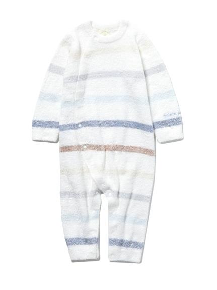 【BABY】'スムーズィー'6ボーダー baby ロンパース(BLU-70)