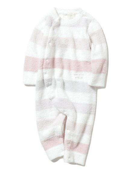 【BABY】'ベビモコ'5ボーダー baby ロンパース(PNK-70)