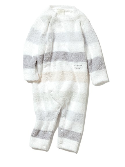 【BABY】'ベビモコ'5ボーダー baby ロンパース(BLU-70)
