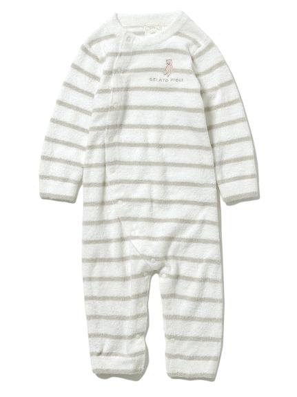 【BABY】'スムーズィー'ベア刺繍ボーダー baby ロンパース(MNT-70)