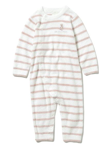 【BABY】'スムーズィー'ベア刺繍ボーダー baby ロンパース(PNK-70)