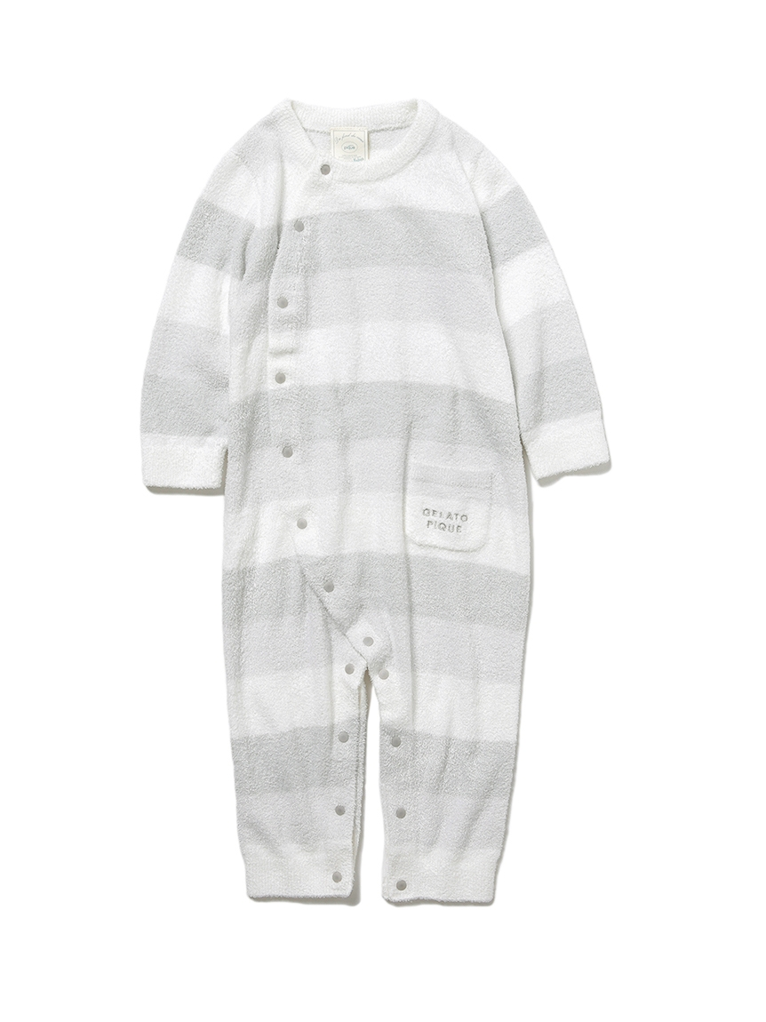 【BABY】 'リサイクル'スムーズィー'3ボーダー baby ロンパース(MNT-70)