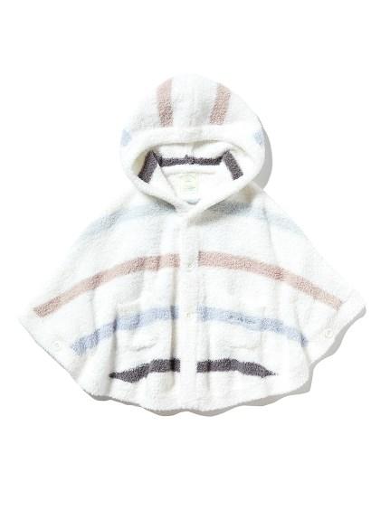 【BABY】'ベビモコ'マルチボーダー baby ポンチョ(BLU-70)