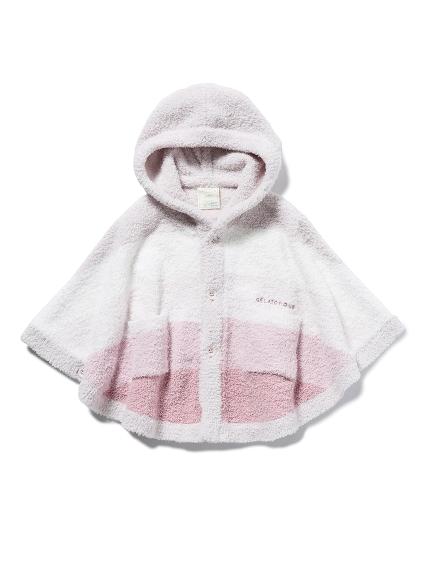 【BABY】'ベビモコ'ブロックボーダー baby ポンチョ(PNK-70)