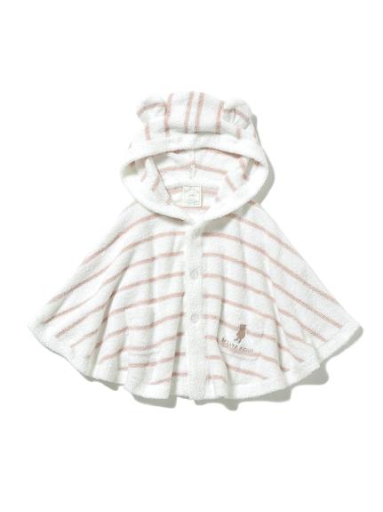 【BABY】'スムーズィー'ベア刺繍ボーダー baby ポンチョ