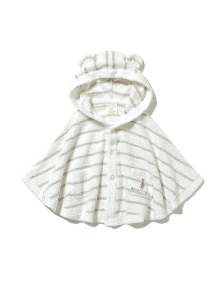 【BABY】'スムーズィー'ベア刺繍ボーダー baby ポンチョ(MNT-70)