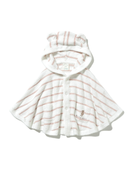 【BABY】'スムーズィー'ベア刺繍ボーダー baby ポンチョ(PNK-70)