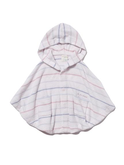 【BABY】'スムーズィー'カラフルピンボーダー baby ポンチョ(PNK-70)